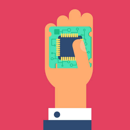 gpu: Computer Processor Chip in hand. Symbol of programmer hard work, system administrator activities, scientific innovation, technical advancements and robotics. High tech microprocessor. Vector Illustration