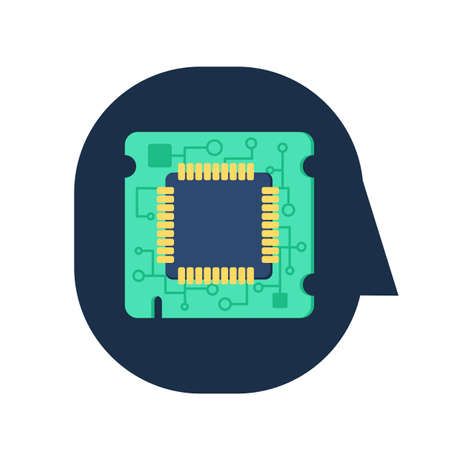 Computer Processor Chip in human head. Symbol of programmer hard work, system administrator activities, scientific innovation, technical advancements and robotics. Brain activities. Vector