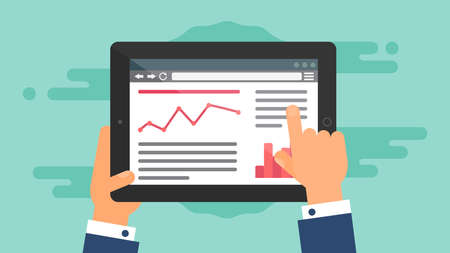 Modello di Web ed elementi per il sito di blog e infografica sul tablet o lettore. Vettore Vettoriali