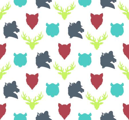 tigre cachorro: Modelo inconsútil de la vida silvestre. ornamento zoológico para la impresión, tela, tela, elementos secundarios y envoltura. Naturaleza fondos de escritorio de la fauna. Siluetas cabeza animales blanco. Vector