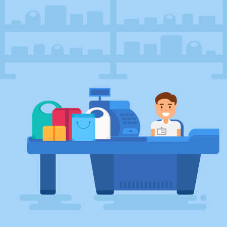 Store with cashier near cash desk. Store or market retail interior. Shopping concept illustration. Illustration