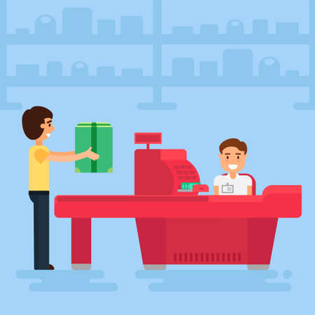 Store with customer and cashier near cash desk. Store or market retail interior. Shopping concept illustration. People are paying purchase. Illustration