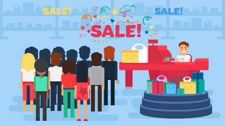 Store with customers crowd and cashier near cash desk. Store or market retail interior. Shopping concept illustration. People are paying purchase. Sale . Illustration