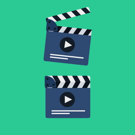 Flat movie clapperboard symbol. Stylish blank movie clapperboard elements.