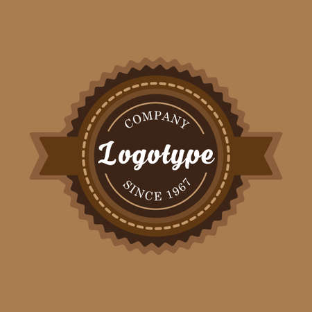 Vintage badge and label template. Design elements. Retro tag emblem in coffee and chocolate colors theme. Illustration