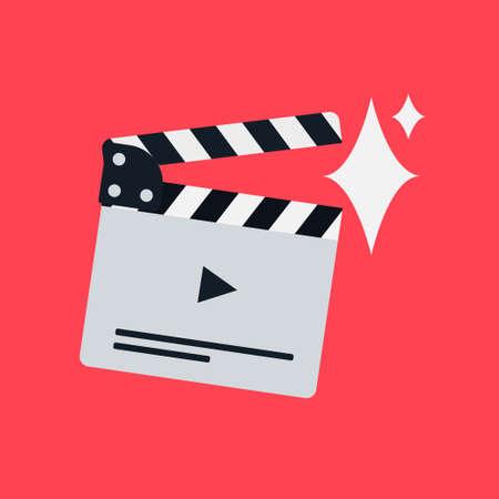 Flat movie clapperboard symbol. Stylish blank movie clapperboard elements.