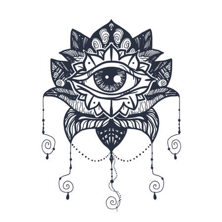 Vintage All Seeing Eye in Mandala Lotus. Providence magic symbol for print, tattoo, coloring book,fabric, t-shirt, cloth in boho style. Astrology, occult, esoteric insight sign with eye.