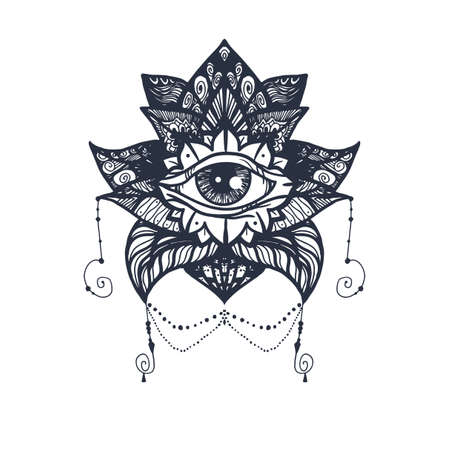 eye of providence: Vintage All Seeing Eye in Mandala Lotus. Providence magic symbol for print, tattoo, coloring book,fabric, t-shirt, cloth in boho style. Astrology, occult, esoteric insight sign with eye.