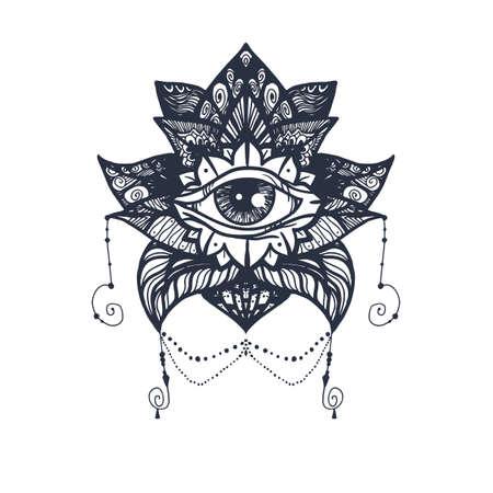 Vintage All Seeing Eye dans Mandala Lotus. Providence symbole magique pour l'impression, tatouage, livre de coloriage, tissu, t-shirt, tissu de style boho. Astrologie, occulte, signe de perspicacité ésotérique avec l'oeil.