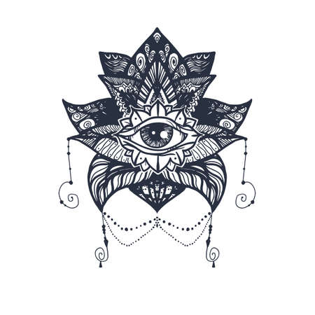 providence: Vintage All Seeing Eye in Mandala Lotus. Providence magic symbol for print, tattoo, coloring book,fabric, t-shirt, cloth in boho style. Astrology, occult, esoteric insight sign with eye.
