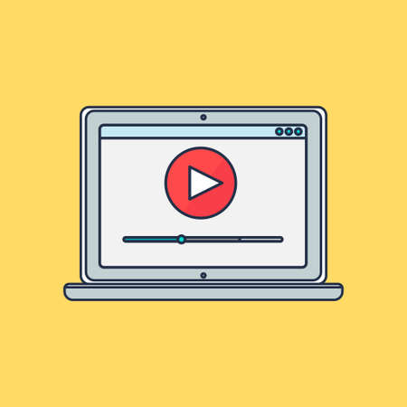 pc tune: Web Template and Elements for site form of watching online video on computer. Illustration