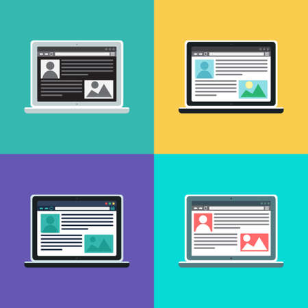 web portal: Web Template and Elements for site of blog and infographics on computer. Illustration