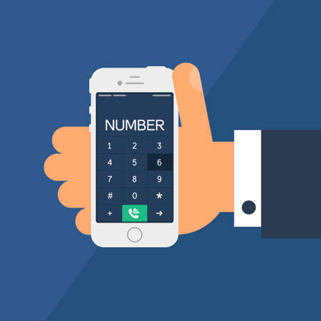 keypad: Social Life with Smartphone Dial. Telephone in hand and smartphone screen with number in flat minimalistic style. Illustration