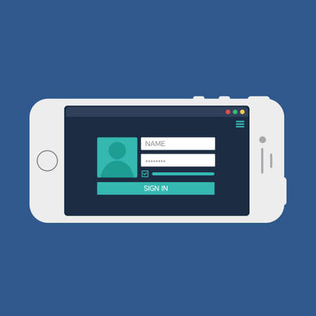 Adaptive Web Phone Template and Gadget Elements for site form of login to account on Smartphone.