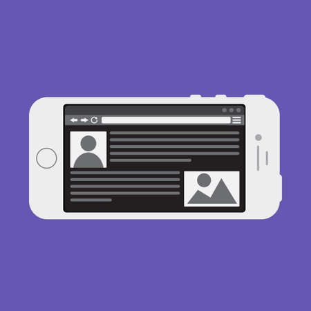 web portal: Adaptive Web Phone Template and Gadget Elements for site of blog and infographics on Smartphone. Illustration