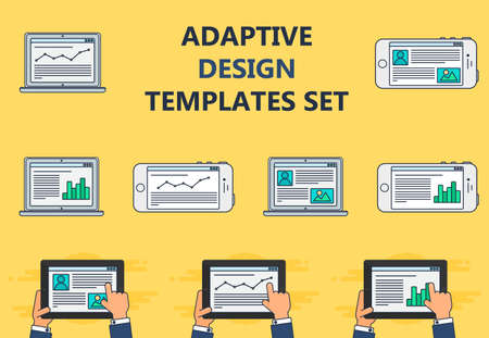 web portal: Adaptive Web Phone Template and Gadget Elements for site of blog and infographics on Smartphone, Tablet, Notebook. Outline minimalistic pad, phone, laptop mockups. Illustration