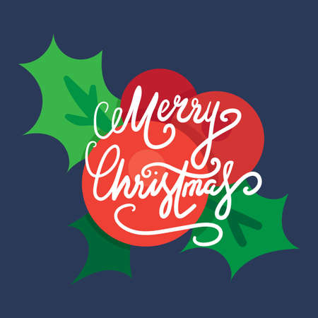 ilex: Merry Christmas Hand Drawn Lettering with holly berry illustration. Xmas Design Label Elements for holiday invitation, greeting, card and headline, title, sticker, emblem, print, magnet. Vector