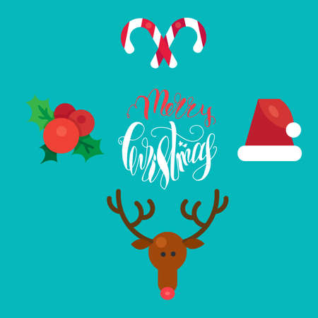 ilex: Merry Christmas Hand Drawn Lettering with Happy Deer, Santa Claus Hat, Holly berries, Caramel Wand. Xmas Design Label Elements for invitation, greeting, card and title, sticker, emblem, print. Vector
