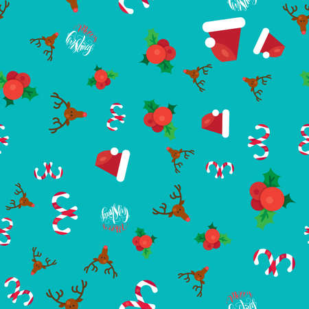 ilex: Merry Christmas Seamless Pattern With Hand Drawn Lettering, Happy Xmas Deer, Santa Claus Hat, Holly berries, Caramel Wand. Design Elements for invitation, greeting, card and sticker, print. Vector