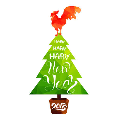 Happy New 2017 Year Lettering in Christmas Tree With Cock. Winter holiday illustration. Xmas Design Label Elements for invitation, greeting card and title, sticker, emblem, print, magnet. Vector