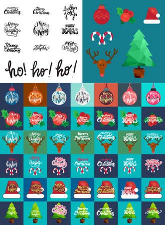 Merry Christmas Hand Drawn Lettering with Happy Deer, Santa Claus Hat, Holly berries, Caramel Wand. Xmas Design Label Elements for invitation, greeting, card and title, sticker, emblem, print. Vector Vector Illustration