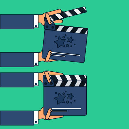 Flat movie clapperboard symbol in hands. Stylish blank movie clapperboard elements. Vector Illustration