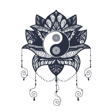 Vintage Yin and Yang in Mandala Lotus. Tao symbol for print, tattoo, coloring book,fabric, t-shirt, yoga, henna, cloth in boho style. Mehndi, occult and tribal, esoteric and alchemy sign. Vector Illustration