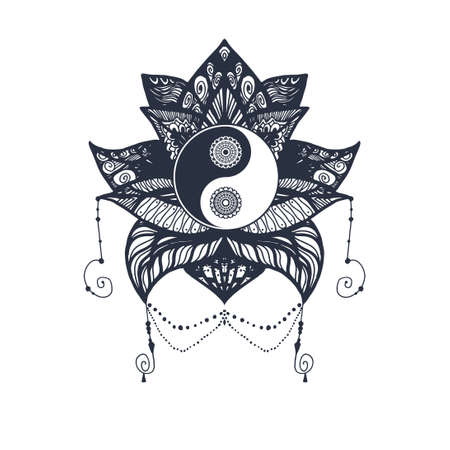 tao: Vintage Yin and Yang in Mandala Lotus. Tao symbol for print, tattoo, coloring book,fabric, t-shirt, yoga, henna, cloth in boho style. Mehndi, occult and tribal, esoteric and alchemy sign. Vector Illustration