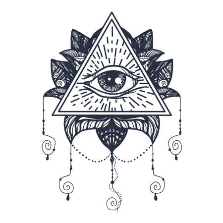 Vintage All Seeing Eye in Mandala Lotus. Providence magic symbol for print, tattoo, coloring book,fabric, t-shirt, cloth in boho style. Astrology, occult, esoteric insight sign with eye. Vector