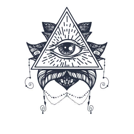 tao: Vintage All Seeing Eye in Mandala Lotus. Providence magic symbol for print, tattoo, coloring book,fabric, t-shirt, cloth in boho style. Astrology, occult, esoteric insight sign with eye. Vector