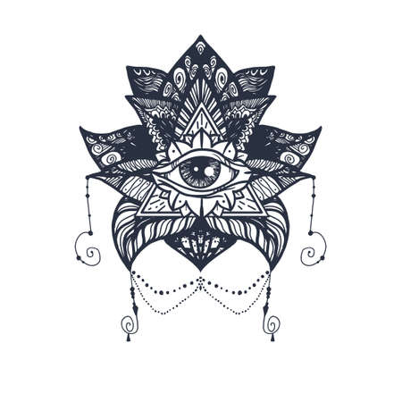 all in: Vintage All Seeing Eye in Mandala Lotus. Providence magic symbol for print, tattoo, coloring book,fabric, t-shirt, cloth in boho style. Astrology, occult, esoteric insight sign with eye. Vector