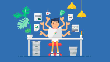 Workspace of Professional Working Developer, Programmer, System Administrator or Designer with desk, chair, notebook Business project or startup concept. Employee office workplace. Vector