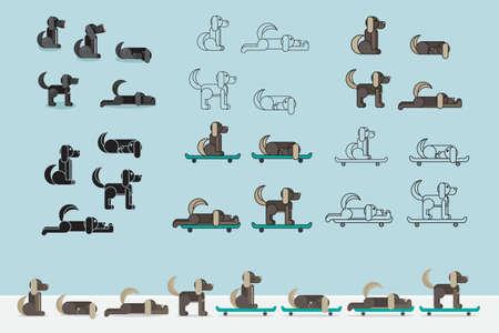 labrador: Dog with skateboard. Puppy set. Vet symbol. Delivery icon. Vector illustration