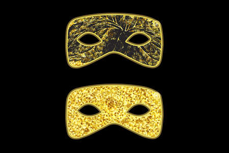 Magic gold mask with black floral pattern on black background, golden sparkles. Vector