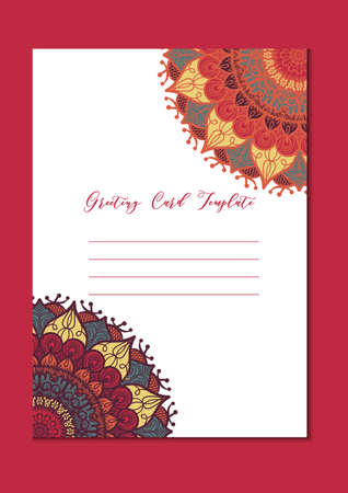 ornamental design: Mandala vintage template card in arabic and indian, islam and ottoman, turkish, asian style for brochure, flyer, greeting, invitation card, cover. Format A4. Floral holiday ornamental design. Vector
