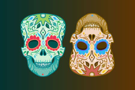 hardcore: Mexican Skull with ornament for print, sticker, wrap, poster and greeting. Day of the Death. Vector