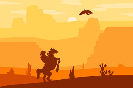 wildwest: Retro Wild West Hero on galloping horse in desert. Vintage sunset in prairie with cowboy, cacti and eagle in sky. Western Day. Natural Landscape for print, poster, illustration, sticker. Vector