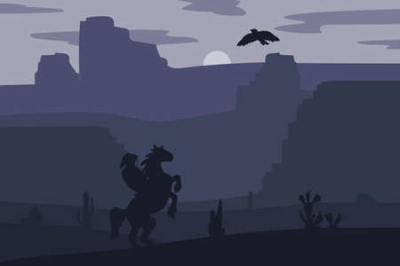 wildwest: Retro Wild West Hero on galloping horse in desert. Vintage sunset in prairie with cowboy, cacti and eagle in sky. Western Night. Natural Landscape for print, poster, illustration, sticker. Vector Illustration