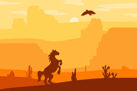 Retro Wild West galloping horse in desert. Vintage sunset in prairie with mustang, cacti and eagle in sky. Western Day. Natural Landscape for print, poster, illustration, sticker. Vector Çizim