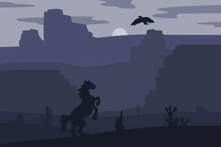 Retro Wild West galloping horse in desert. Vintage sunset in prairie with mustang, cacti and eagle in sky. Western Night. Natural Landscape for print, poster, illustration, sticker. Vector