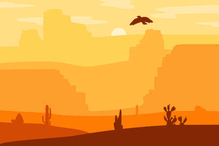 wildwest: Retro Wild West galloping horse in desert. Vintage sunset in prairie with mustang, cacti and eagle in sky. Western Day. Natural Landscape for print, poster, illustration, sticker. Vector Illustration