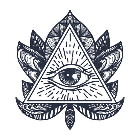 All Seeing Eye in Mandala Lotus. Providence magic symbol for print, tattoo, coloring book,fabric, t-shirt, cloth in boho style.
