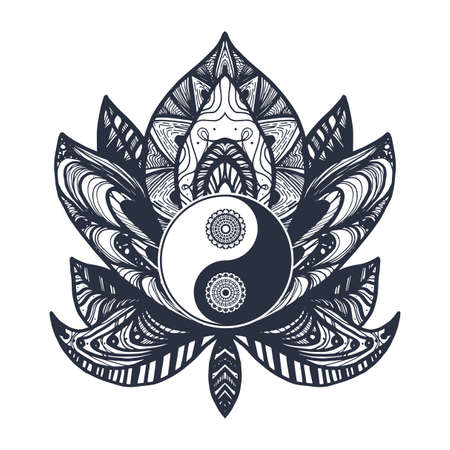 Vintage Yin and Yang in Mandala Lotus. Tao symbol for print, tattoo, coloring book,fabric, t-shirt, yoga, henna, cloth in boho style. Mehndi, occult and tribal, esoteric and alchemy sign. Vector Ilustração