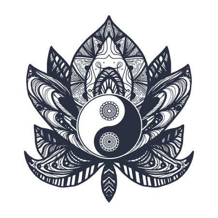 Yin et Yang Vintage dans Mandala Lotus. symbole Tao pour l'impression, tatouage, livre de coloriage, tissu, t-shirt, le yoga, le henné, le tissu dans un style boho. Mehndi, occulte et tribal, ésotérique et signe l'alchimie. Vecteur