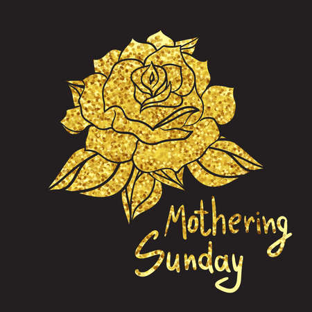 mothering: Mothering Sunday Lettering with gold rose. Vector Illustration