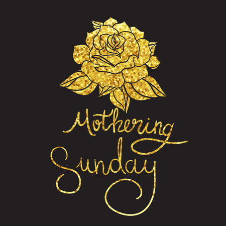 mothering: Mothering Sunday illustration with gold rose Vector Illustration
