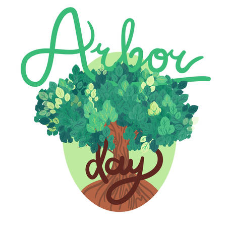 Save Our Planet Concept With Tree. Arbor Day Greeting for sticker, banner and flyer. Vector Illustration