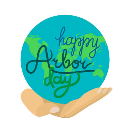 Save Our Planet Concept With Earth. Arbor Day Greeting for sticker, banner and flyer. Vector Illustration