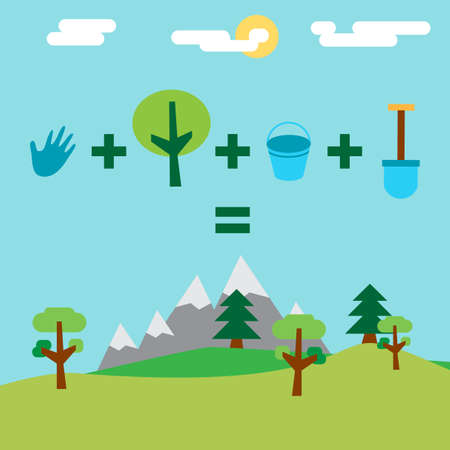 Save Our Planet Infographics. Arbor, Earth and Environment Day Greeting for sticker, banner and flyer. Vector