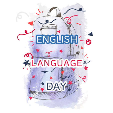 English Language Day Banner With School Bag. Vector Illustration